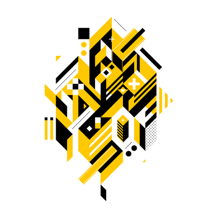 industrial complex: Abstract composition of complex geometric shapes. Style of modern art and graffiti. The design element is isolated on a white background, its very simple to change main or background color.