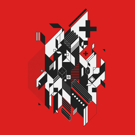 futurism: Abstract geometric element on red background. Style of futurism and constructivism. Useful as prints or posters.