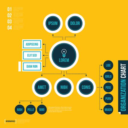 Modèle de tableau de l'organisation moderne dans un style plat sur fond jaune. Banque d'images - 67674780