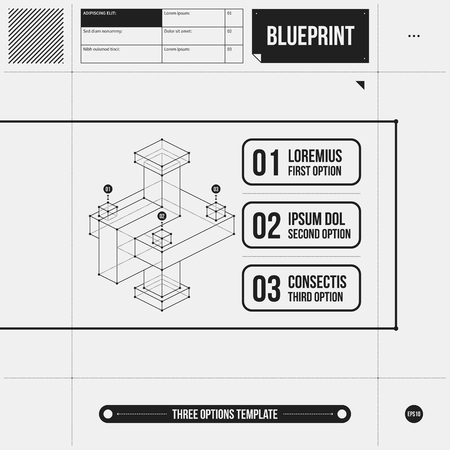 draft: Three options template with abstract 3d element in draft style. Illustration
