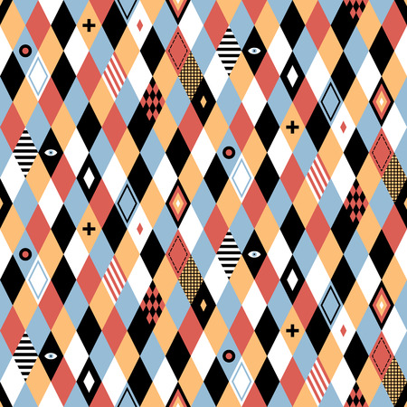 Seamless geometric pattern in flat style with colorful rhombuses. Useful for wrapping, wallpapers and textile. Illustration