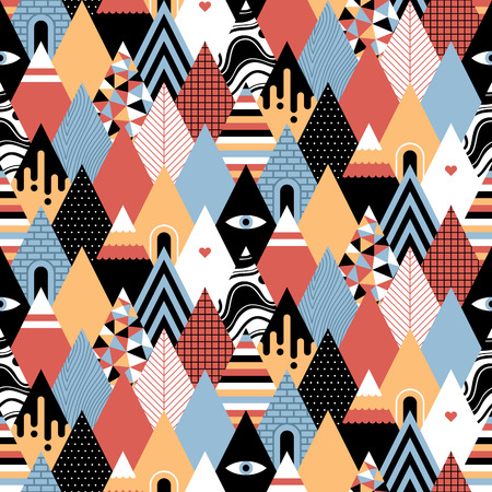 Seamless geometric pattern in flat style with growing trianglesmountains. Useful for wrapping, wallpapers and textile. Illustration