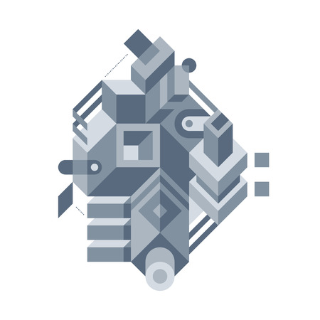 architectonics: Abstract composition of complicated geometric shapes. Style of modern art and graffiti. The design element is isolated on a white background, suitable for prints, posters and covers. Illustration