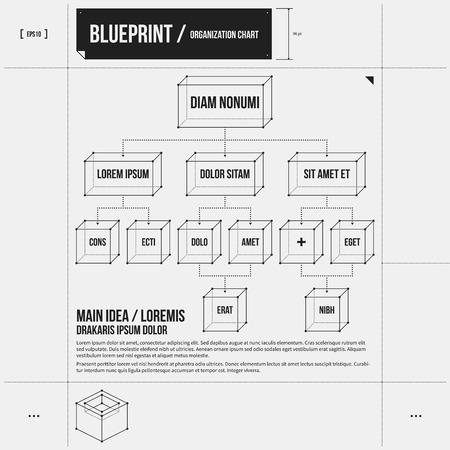 plantilla de la organización con elementos de rectángulo en estilo de proyecto. EPS10