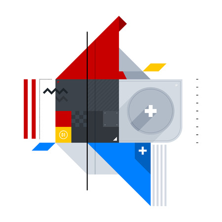 avantgarde: Abstract geometric composition of simple shapes. Style of Abstract art, Suprematism, Constructivism. The design element is isolated on a white background, suitable for prints, posters and covers. Illustration