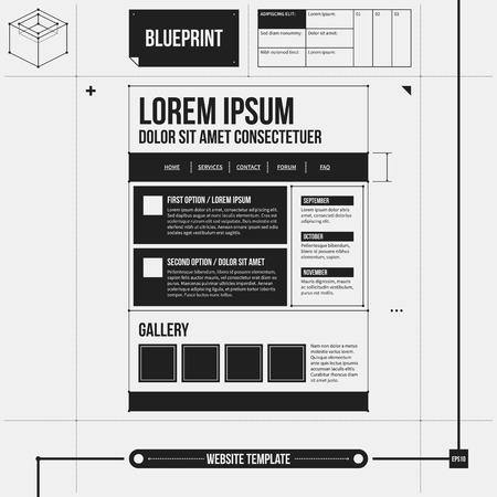 web site: Web site template in draft style. Illustration