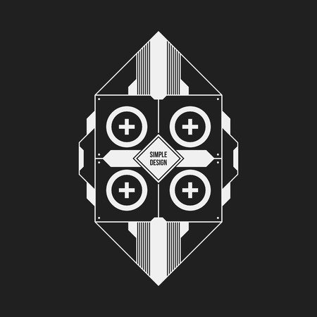 Futuristic design element on dark background. Useful as poster or print.
