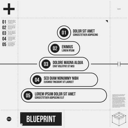 draft: Pyramid chart template in draft style with five stages.