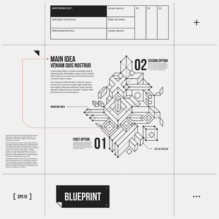 draft: Simple vector layout with abstract outline object in draft style.