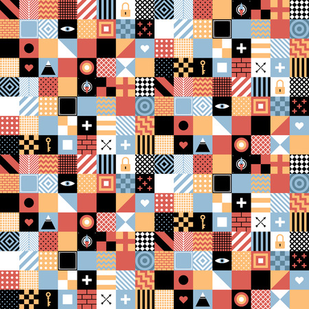 Bezproblemowa geometryczny wzór w stylu z płaskim placów i małych ikon. Przydatne do owijania, tapety i tekstyliów. Zdjęcie Seryjne - 67675031