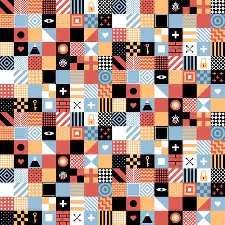 Nahtlose geometrische Muster in flachen Stil mit Plätzen und kleinen Symbolen. Nützlich für die Verpackung, Tapeten und Textilien. Lizenzfreie Bilder - 67675031