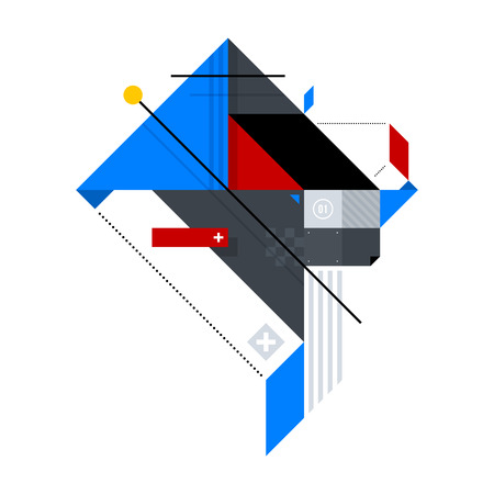 kandinsky: Abstract geometric composition of simple shapes. Style of Abstract art, Suprematism, Constructivism. The design element is isolated on a white background, suitable for prints, posters and covers. Illustration