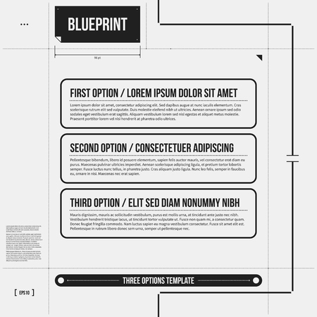 draft: Vector template with three horizontal banners in draft style. Illustration