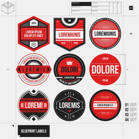 draft: Set of 9 different labelsbadges in draft style. Illustration