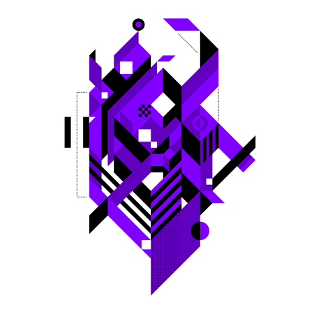 modernism: Abstract composition of complex geometric shapes. Style of modern art and graffiti. The design element is isolated on a white background, its very simple to change main or background color.