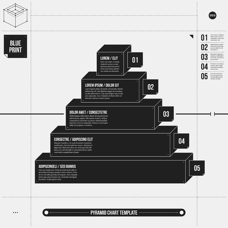 draft: Pyramid chart template in draft style with five stages. EPS10.