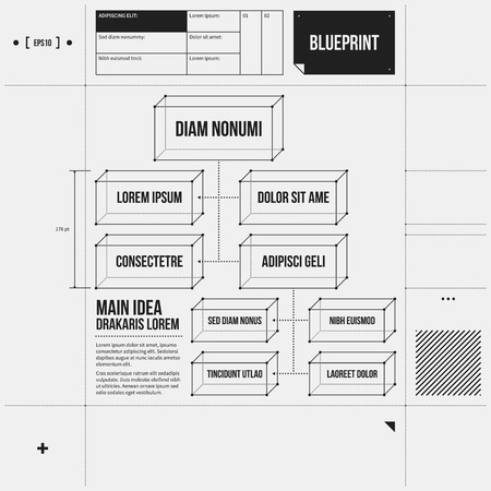 draft: Organization chart template in draft style. EPS10