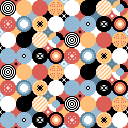 Seamless geometric pattern in flat style with colorful circles. Useful for wrapping, wallpapers and textile. Illustration