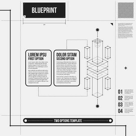 draft: Two options template with abstract 3d element in draft style. Illustration