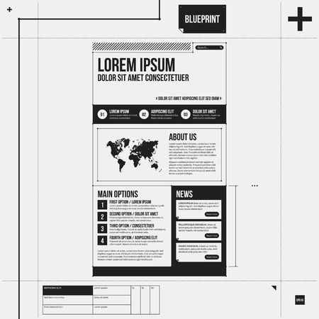 draft: Web site template in draft style. Illustration
