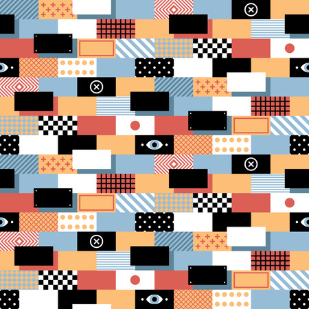 wacky: Seamless geometric pattern in flat style with colorful bricks. Useful for wrapping, wallpapers and textile.