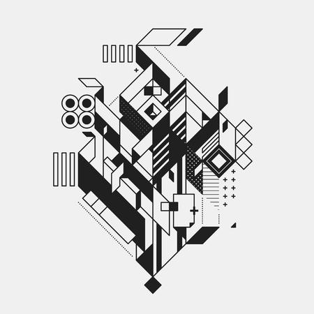 Elemento geométrico abstracto en el estilo futurista aislado sobre fondo blanco. Útil para imprimir imágenes y carteles. Foto de archivo - 67675277