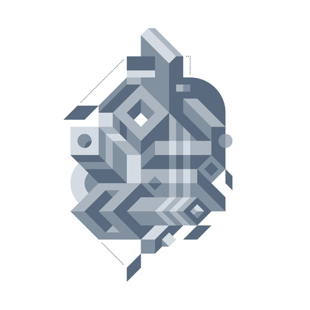 Abstract composition of complicated geometric shapes. Style of modern art and graffiti. The design element is isolated on a white background, suitable for prints, posters and covers. Illustration