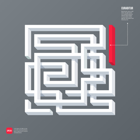 3d design element: Modern business template with abstract 3d design element in a shape of a labyrinth on gray background. Neutral corporate style. Illustration