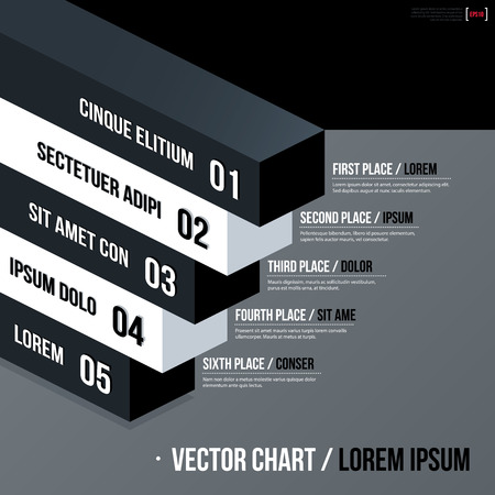 variant: Modern business vector chart template with 3d isometric elements on gray background. Neutral corporate style.