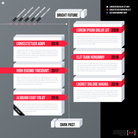 neutral: Modern business timeline template with white 3d shapes on gray background. Neutral corporate style.