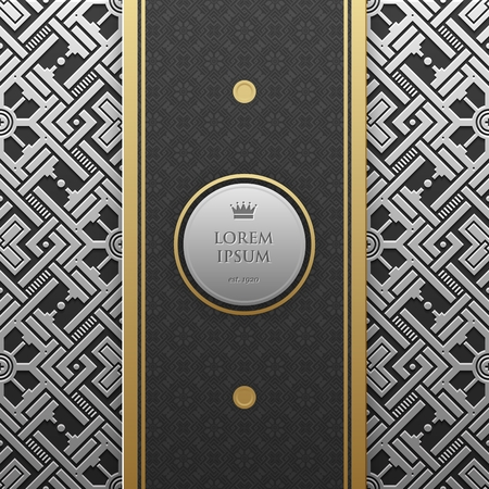 luxe: Vertical banner template on silverplatinum metallic background with seamless geometric pattern. Elegant luxury style.
