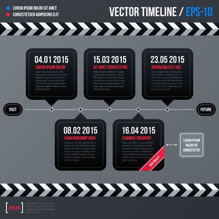 end of the days: Modern business timeline template with black squares on gray background. Neutral corporate style.