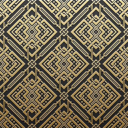 Golden metallic background with seamless geometric pattern. Elegant luxury style. Vector Illustration