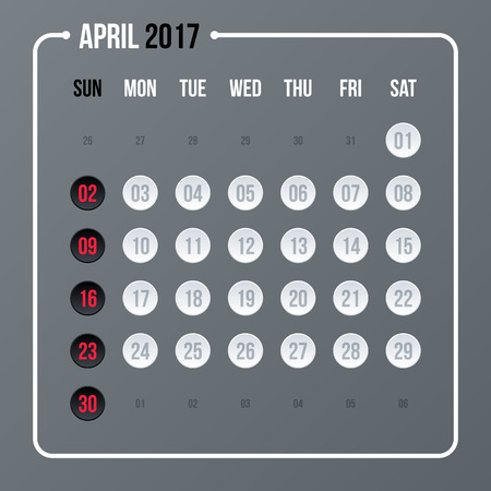 neutral: Corporate calendar template on neutral gray background. 2017 year, month april.