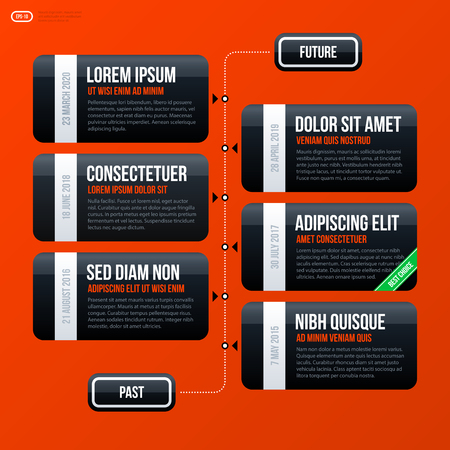 variant: Corporate business timeline template on bright orange background. Useful for presentations and advertising.