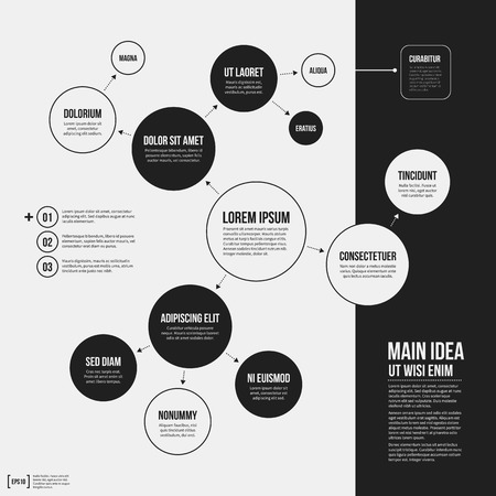 plantilla de la organización con elementos geométricos sobre fondo blanco. Útil para presentaciones de la ciencia y de negocios.