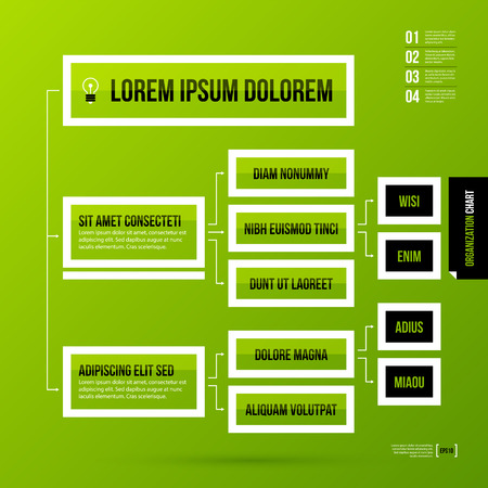 decision tree: Organization chart template on fresh green background. Vector EPS-10 template.