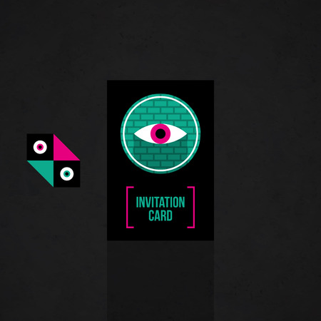 mystic: Modern design card template with mystic symbols and wacky colors. Useful for invitations, postcards and web design.