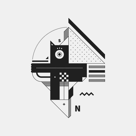cubismo: Abstract monochrome creature on white background. Style of cubism and constructivism. Useful for prints and posters. Vectores