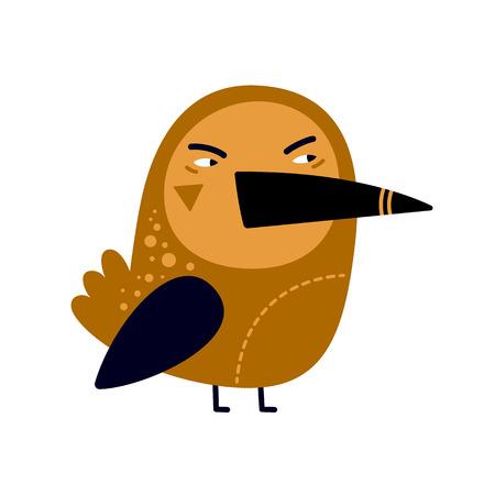 Illustration of angry bird with big beak on white background.