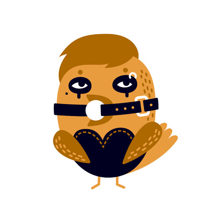 Illustration of sexy bird in latexleather bdsm costume with gag in her beak. Illustration