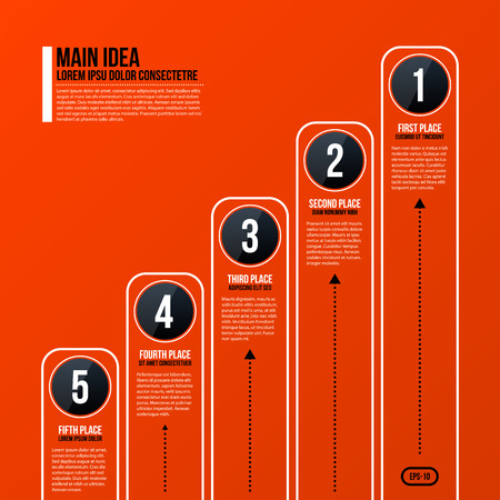 jerarquia: Corporate business chart template on bright orange background. Useful for presentations and advertising.