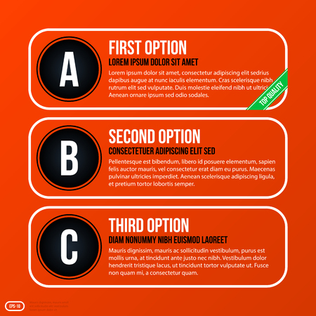 variant: Corporate business banners and options template on bright orange background. Useful for presentations and advertising.