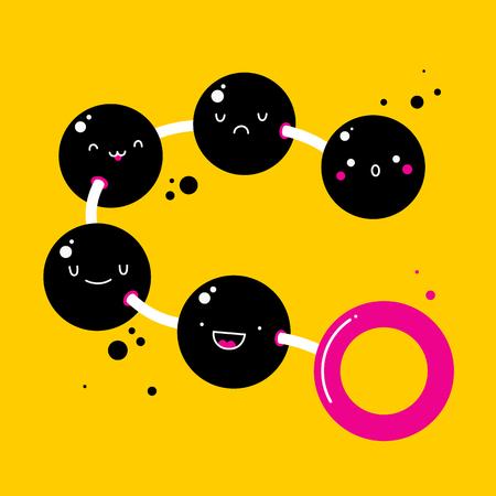 sexual pleasure: Handdrawn illustration with cute pleasure balls on yellow background.