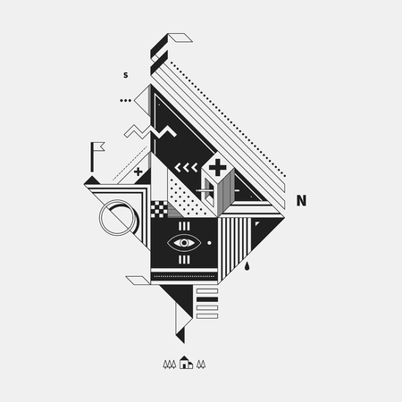 Abstract monochrome creature on white background. Style of cubism and constructivism. Useful for prints and posters. Иллюстрация