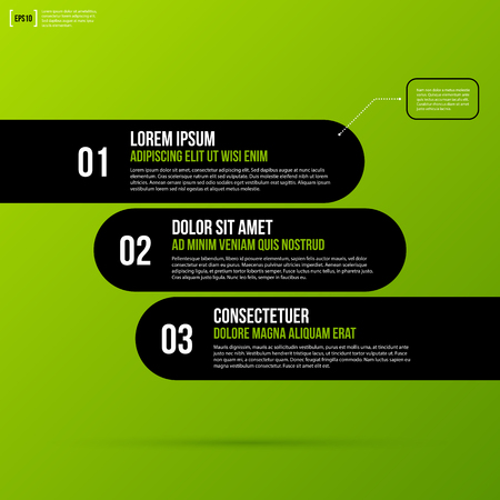 Options template on fresh green background. Flat style. Illustration