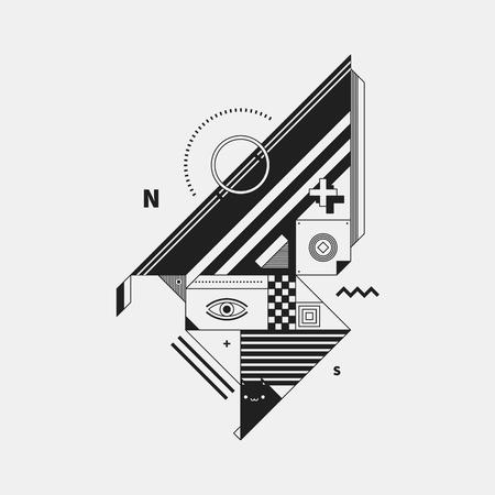 cubismo: criatura monocromo abstracta sobre fondo blanco. Estilo del cubismo y el constructivismo. Útil para imprimir imágenes y carteles. Vectores