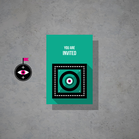 wacky: Modern design card template with mystic symbols and wacky colors. Useful for invitations, postcards and web design.