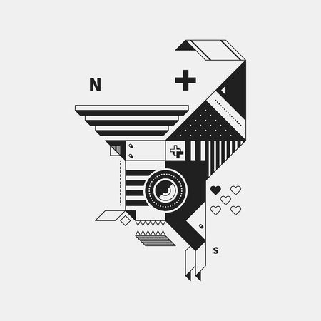 Abstract monochrome creature on white background. Style of cubism and constructivism. Useful for prints and posters. Illustration