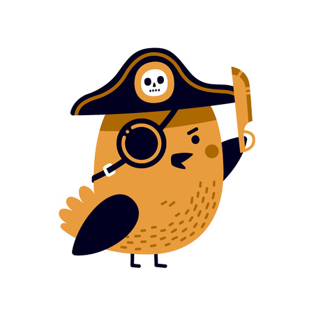 Illustration of adorable pirate bird with captains hat, eye patch and sharp blade.